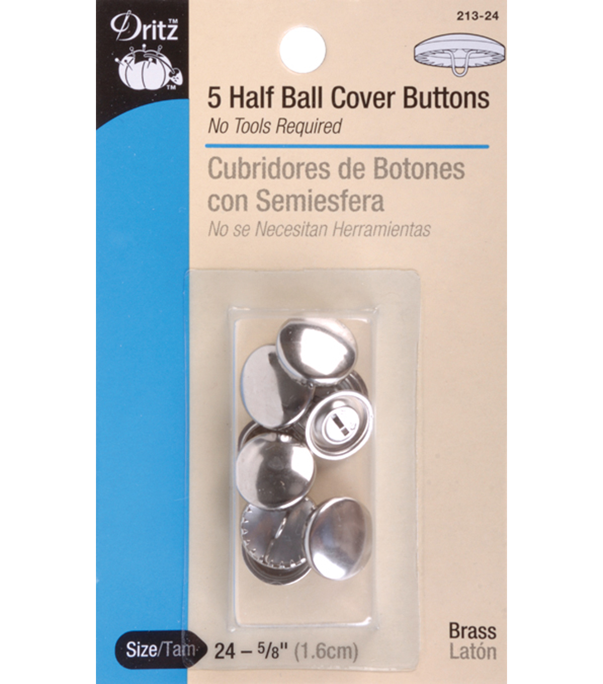 Dritz 1.13\u0027\u0027 Half Ball Cover Buttons 3pcs Size 45