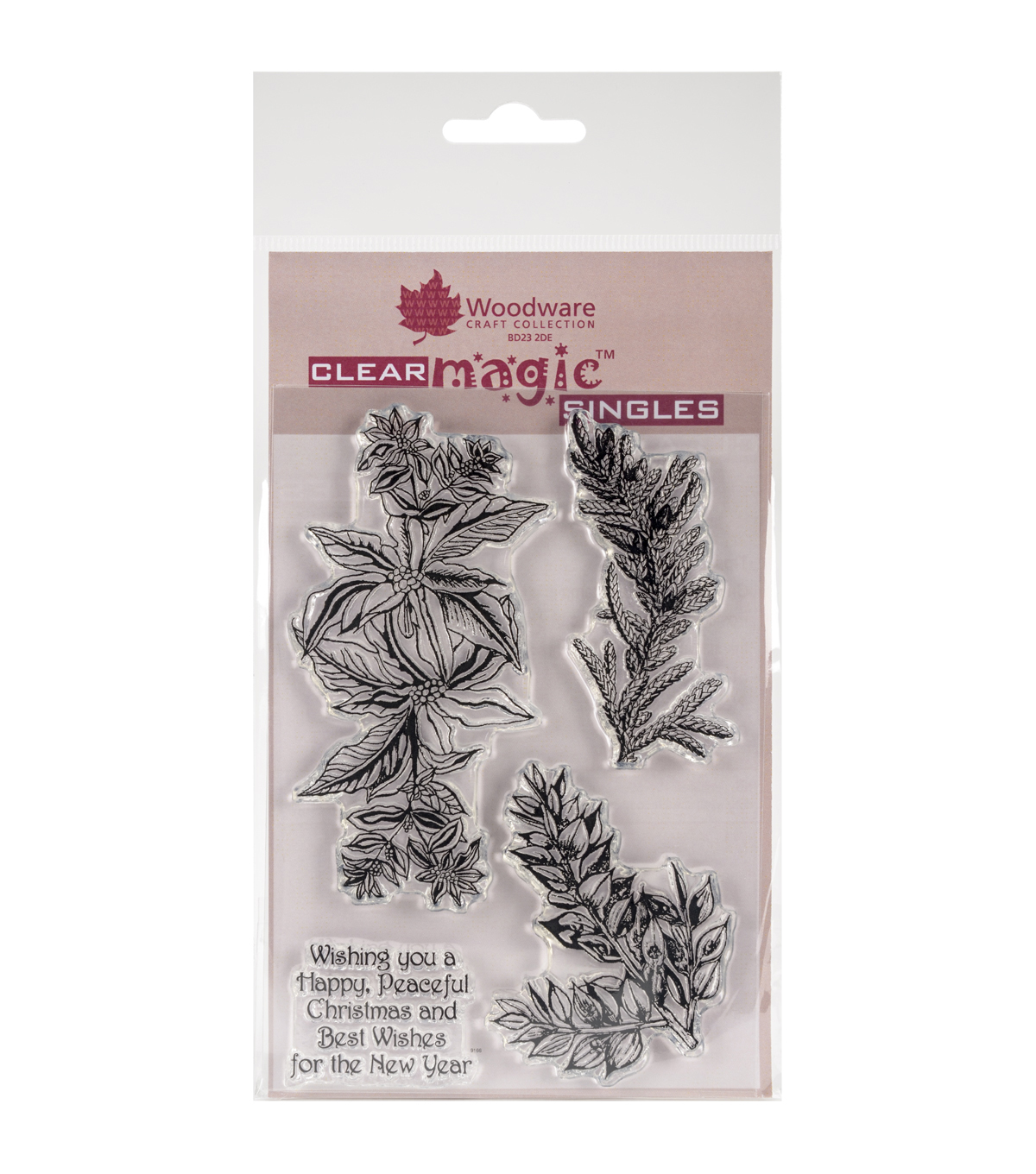 Woodware Craft Collection Clear Magic Stamp-Poinsettia & Spruce