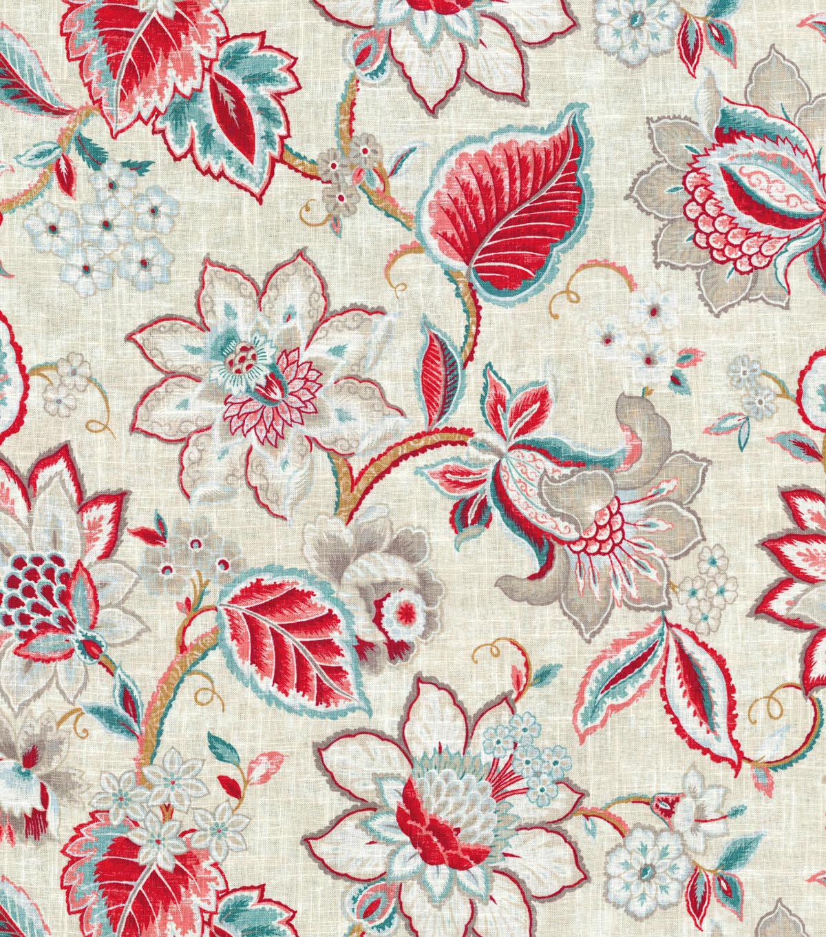 "Waverly Upholstery Fabric 54""-Floral Fresh Strawberry"