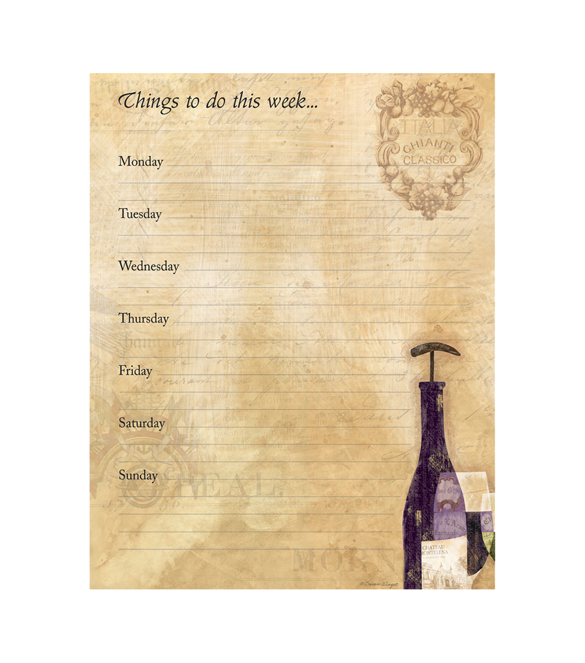 Susan Winget Six Bottles Jumbo Weekly Planner