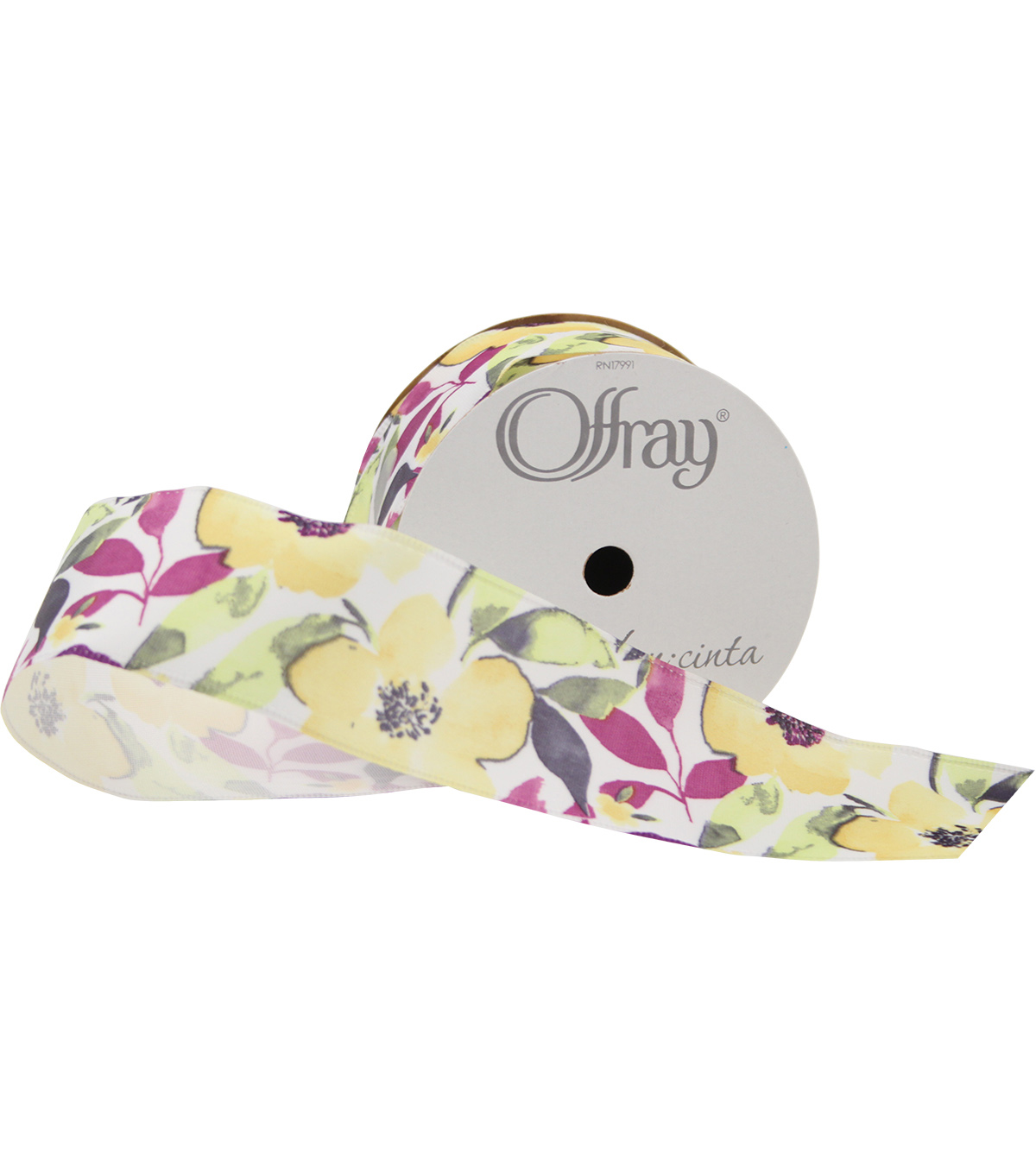 Offray 1.5\u0022x9\u0027 Lemon Pop Floral Single Faced Satin Wired Edge Ribbon-Yellow