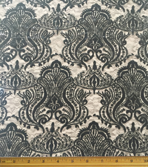 All That Glitters Fabric-Scroll Sequin Lace Black
