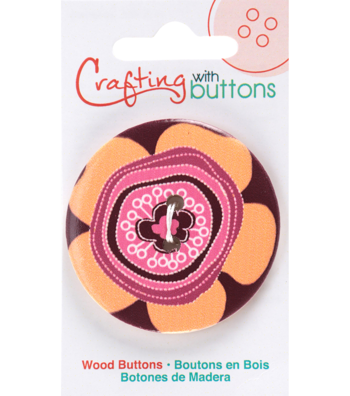 Crafting with Buttons Global Chic 1.75\u0027\u0027 Wood Button-Peru