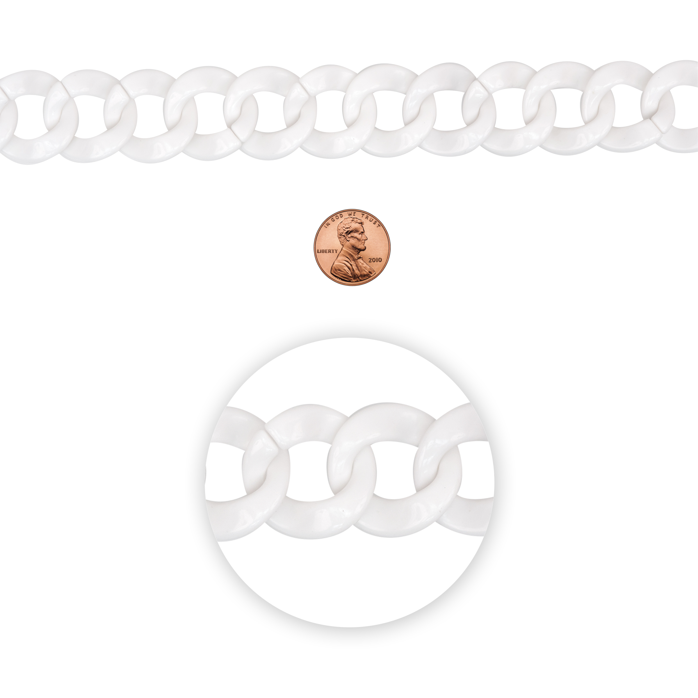 Blue Moon Beads Chain, Curb Link, Plastic, White