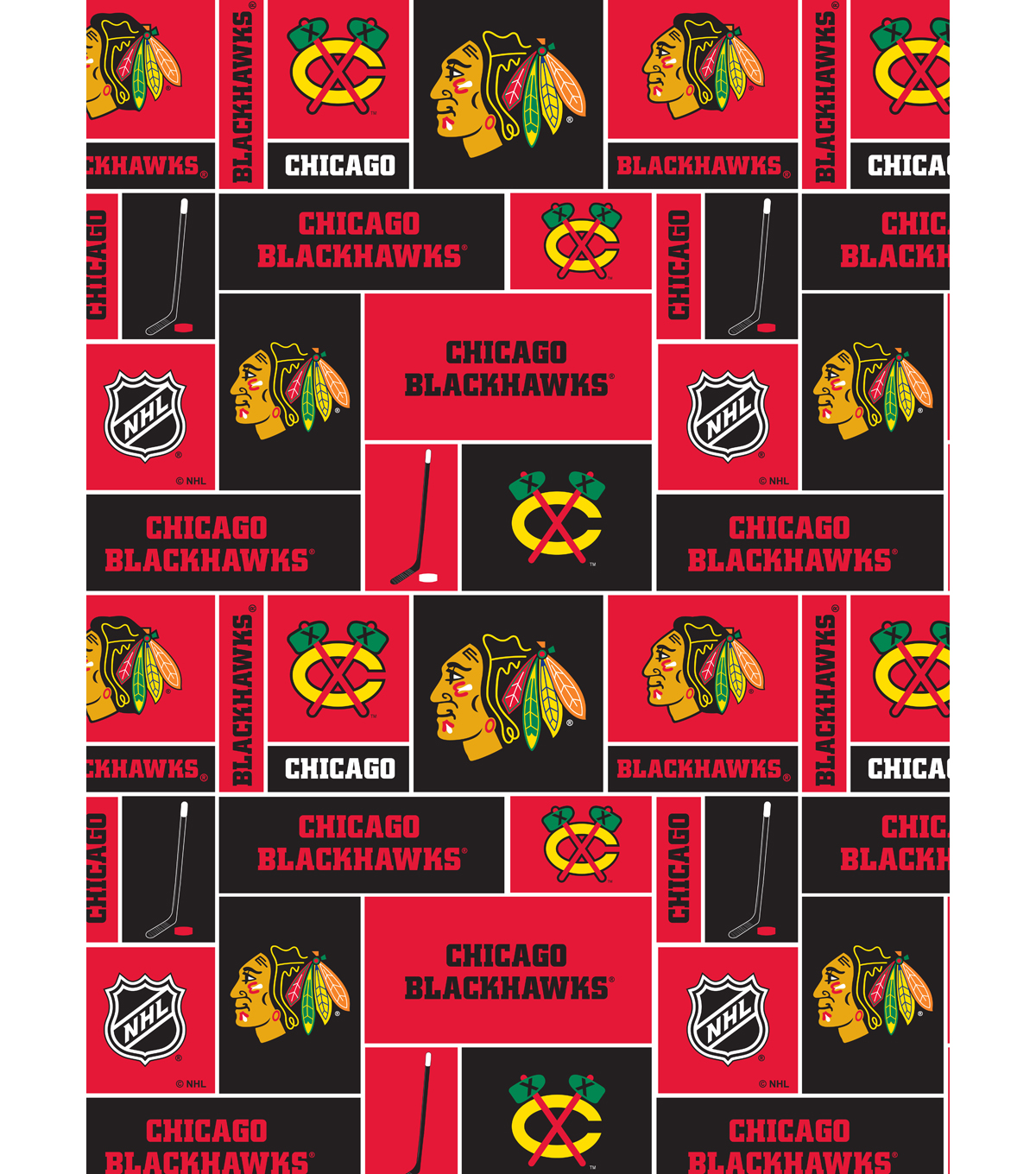 Chicago Blackhawks Cotton Fabric 43\u0022-Block
