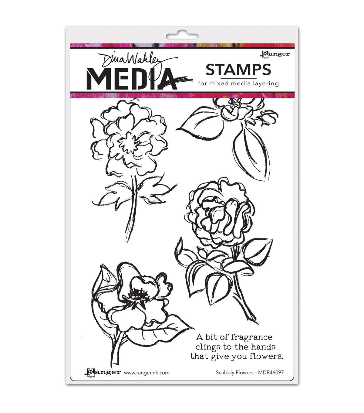 Ranger Dina Wakley Scribbly Flowers Media Cling Stamps