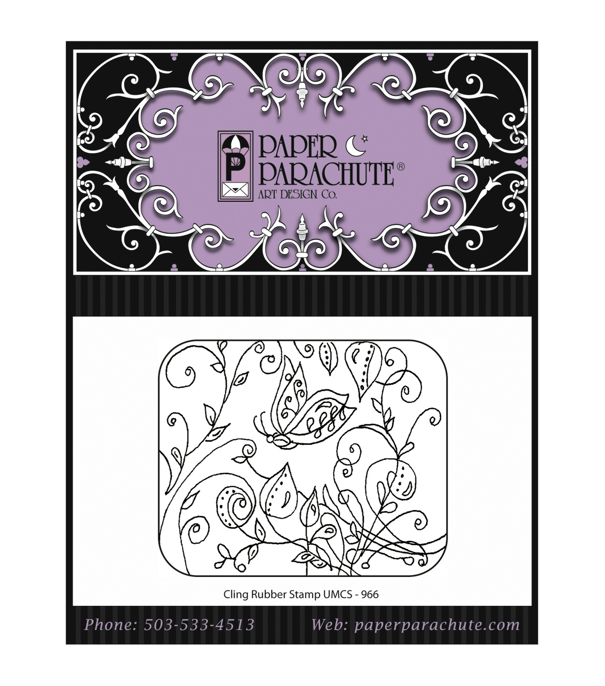 Paper Parachute Butterfly Vine Rubber Cling Stamps