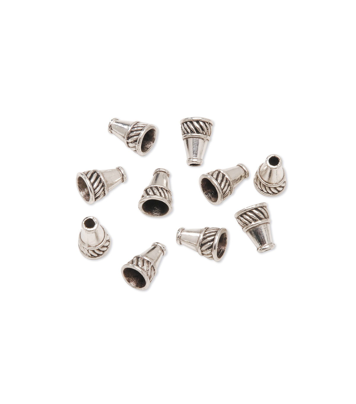 Silver Plated Metal Bead Cones, 10 x 13mm, 8pcs.