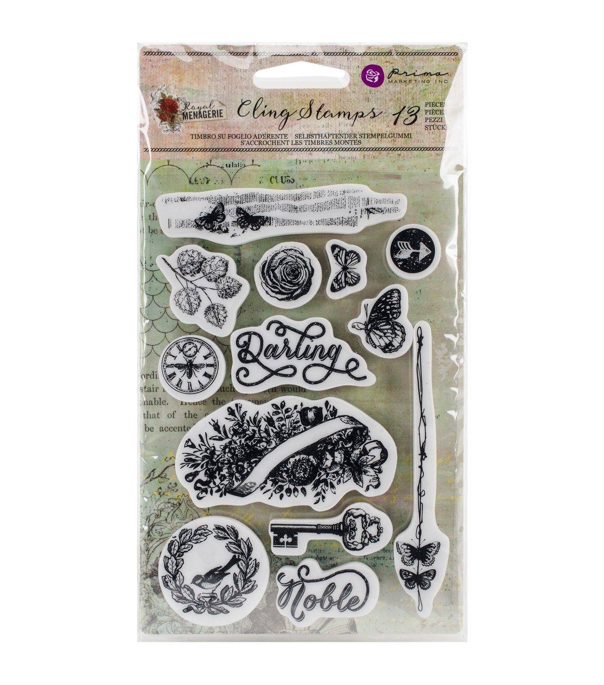 Prima Marketing Royal Menagerie Cling Rubber Stamps-Darling/Noble
