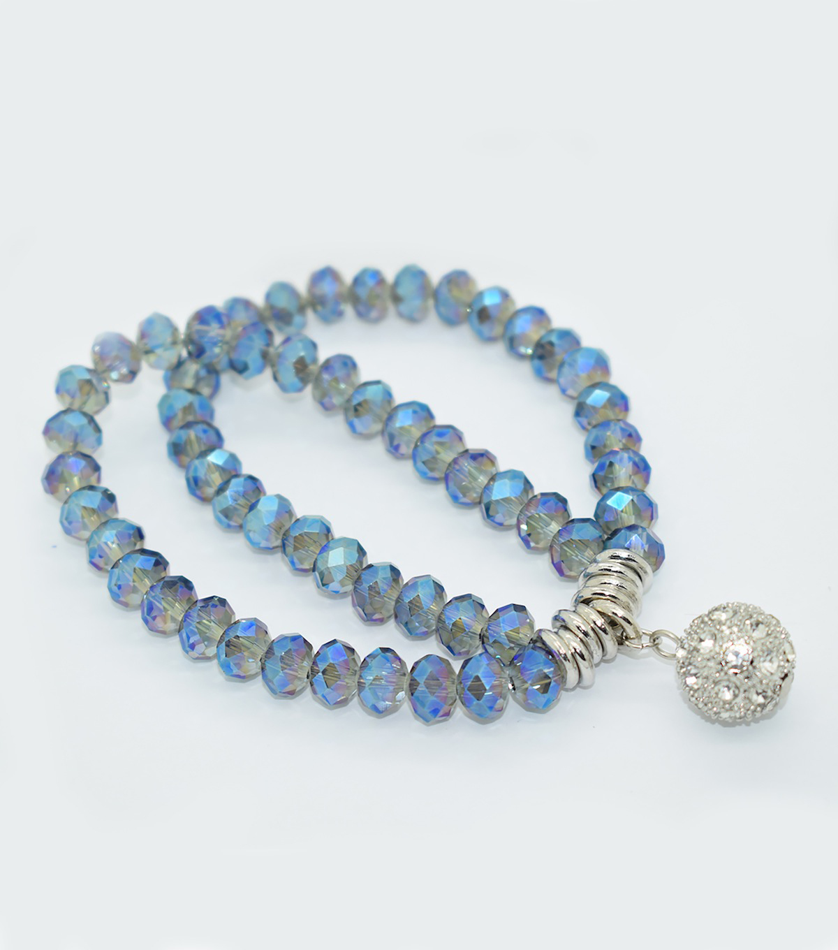 Crystal Two Line Drop Bracelet-Shaded Blue