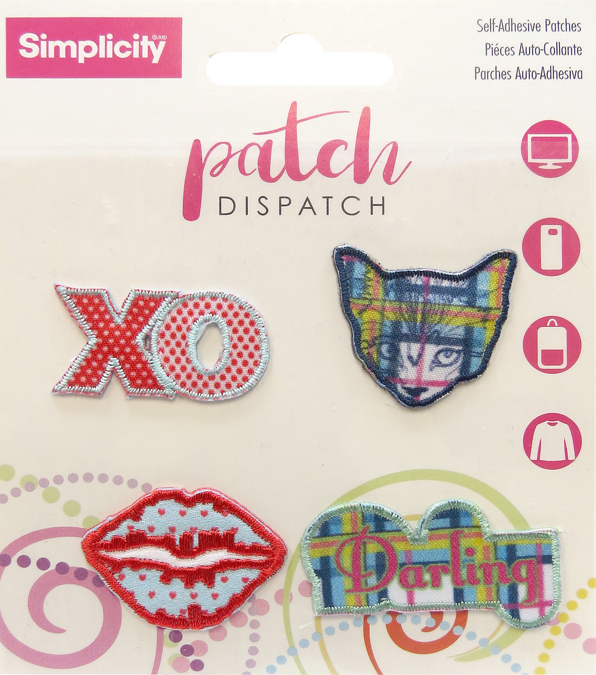 Simplicity® Embroidered Self-Adhesive Patches-Plaid Mix-4 Pack