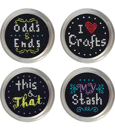 Crafts Jar Topper Counted Cross Stitch Kit-Set Of 4