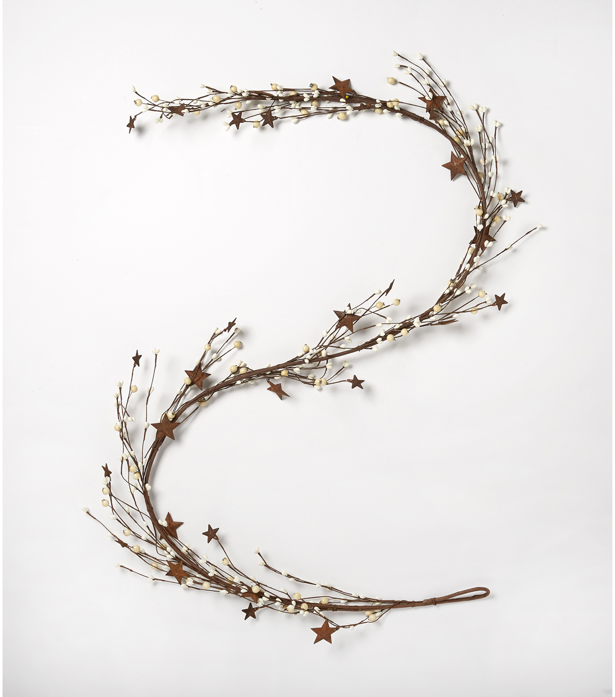 Blooming Autumn 66'' Berry & Metal Star Garland-White