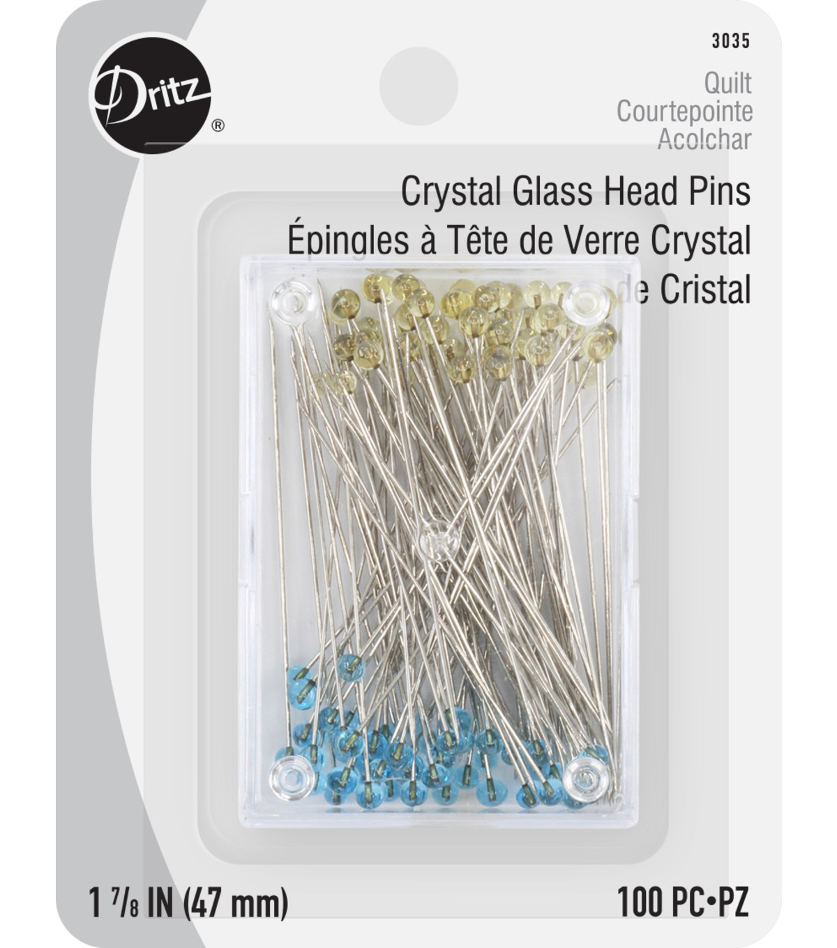 Dritz Quilting 1.88\u0022 Crystal Glasshead Pins