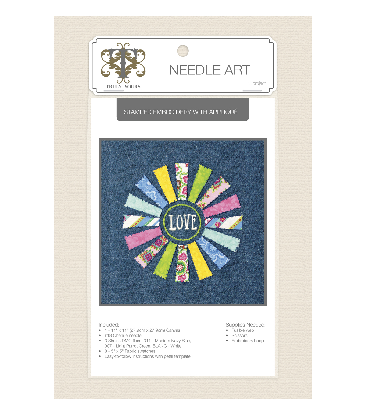 Truly Yours™ Needle Art Stamped Embroidery Kit- Flower