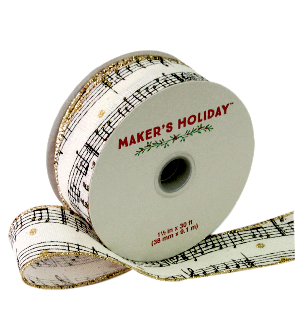 Maker's Holiday Ribbon 1.5''x30'-Black & Ivory Music Note