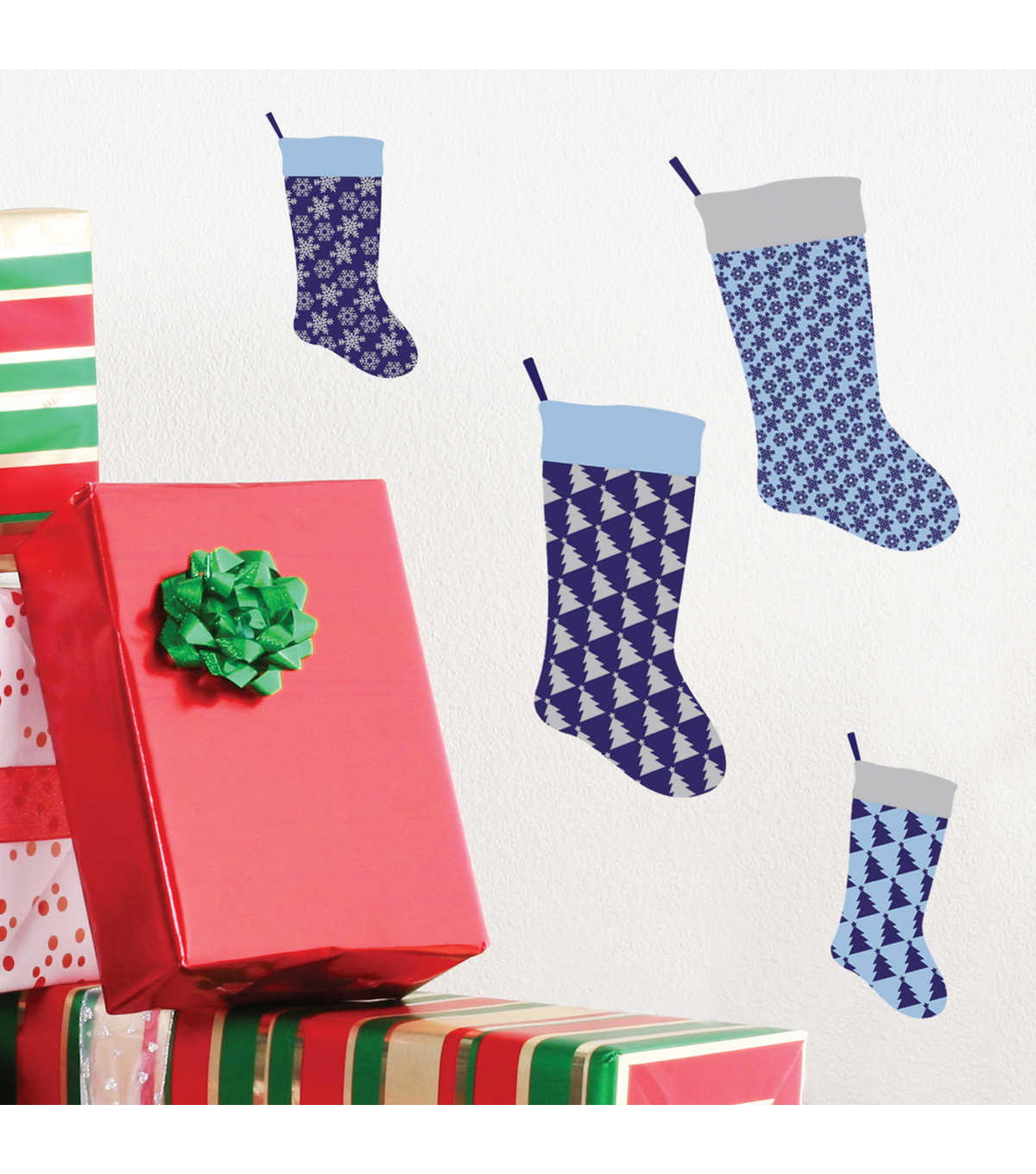 Peel & Stick Wall Art-Patterned Stockings