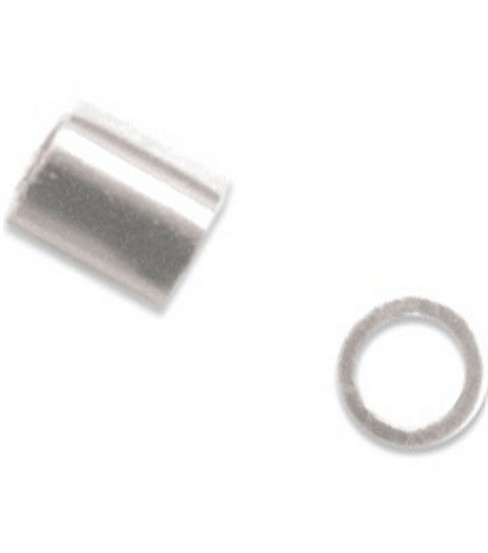 Beadalon 1.8mm Outer/1.3mm Inner/2mm Length Crimp Beads-83PK/Silver Plated
