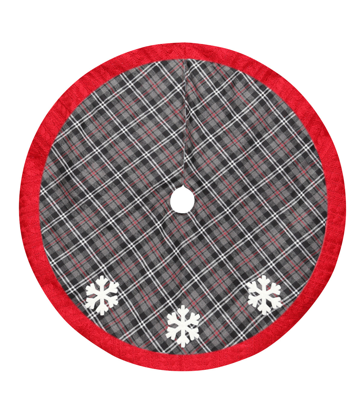 Maker\u0027s Holiday Tree Skirt-Plaid & Snowflake