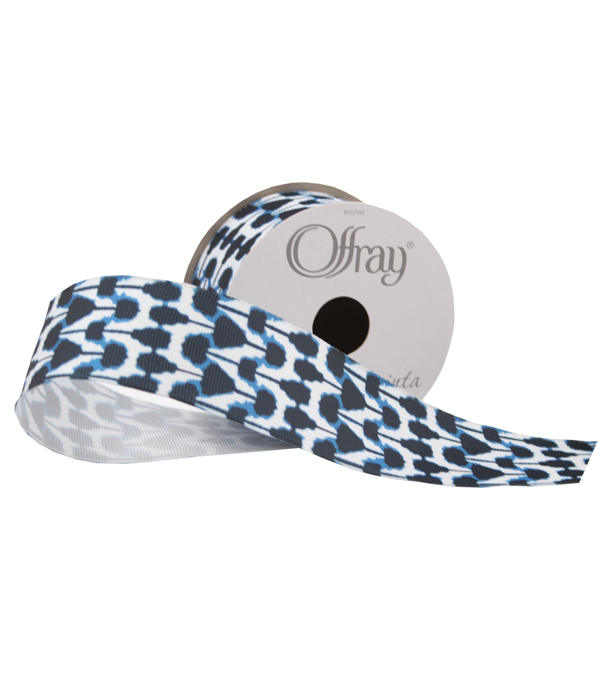 Offray 1.5\u0022x9\u0027 Ink Blots Abstract Grosgrain Wired Edge Ribbon-Navy