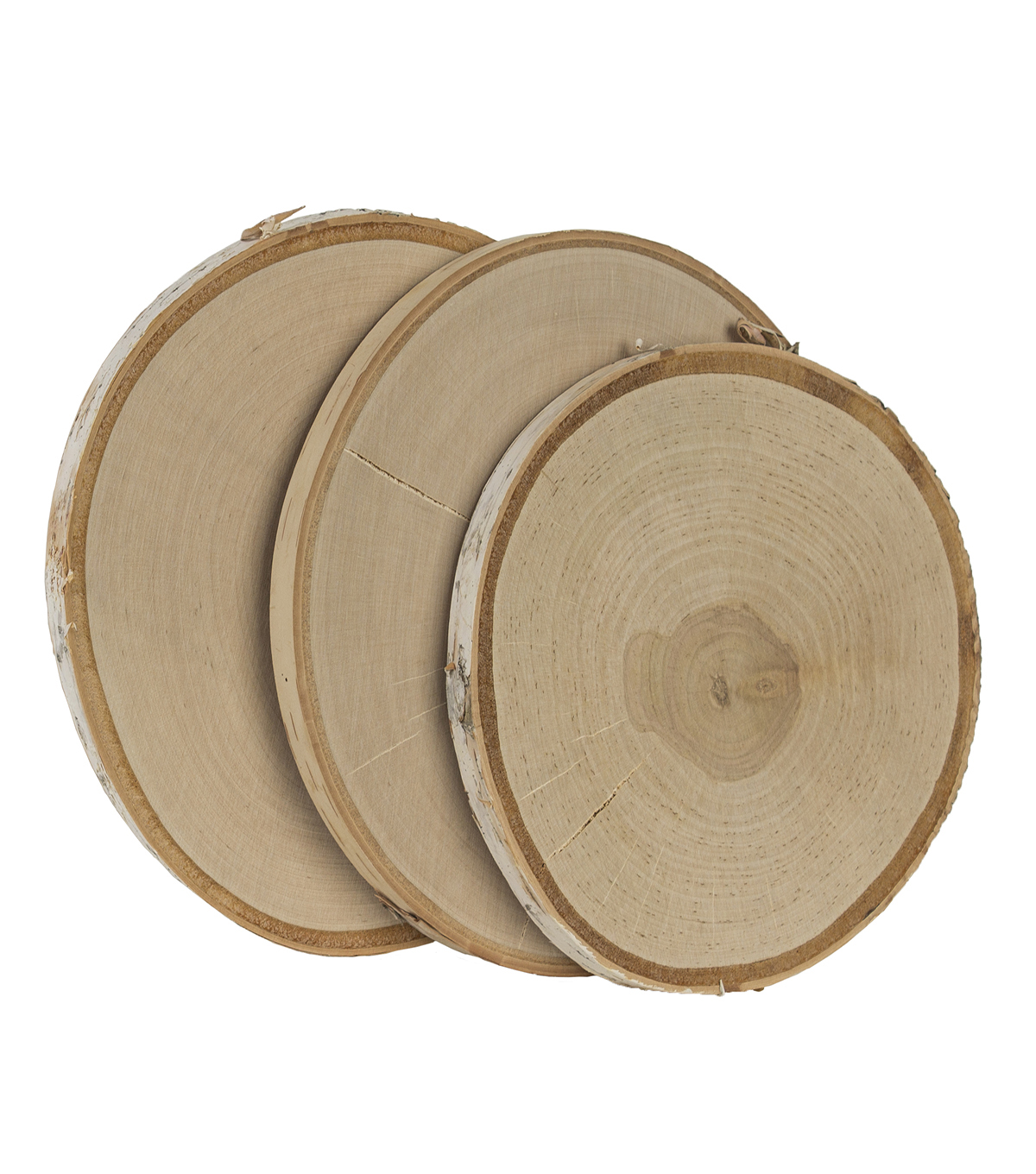 Natural Birch with Bark 3 pk Round Surface