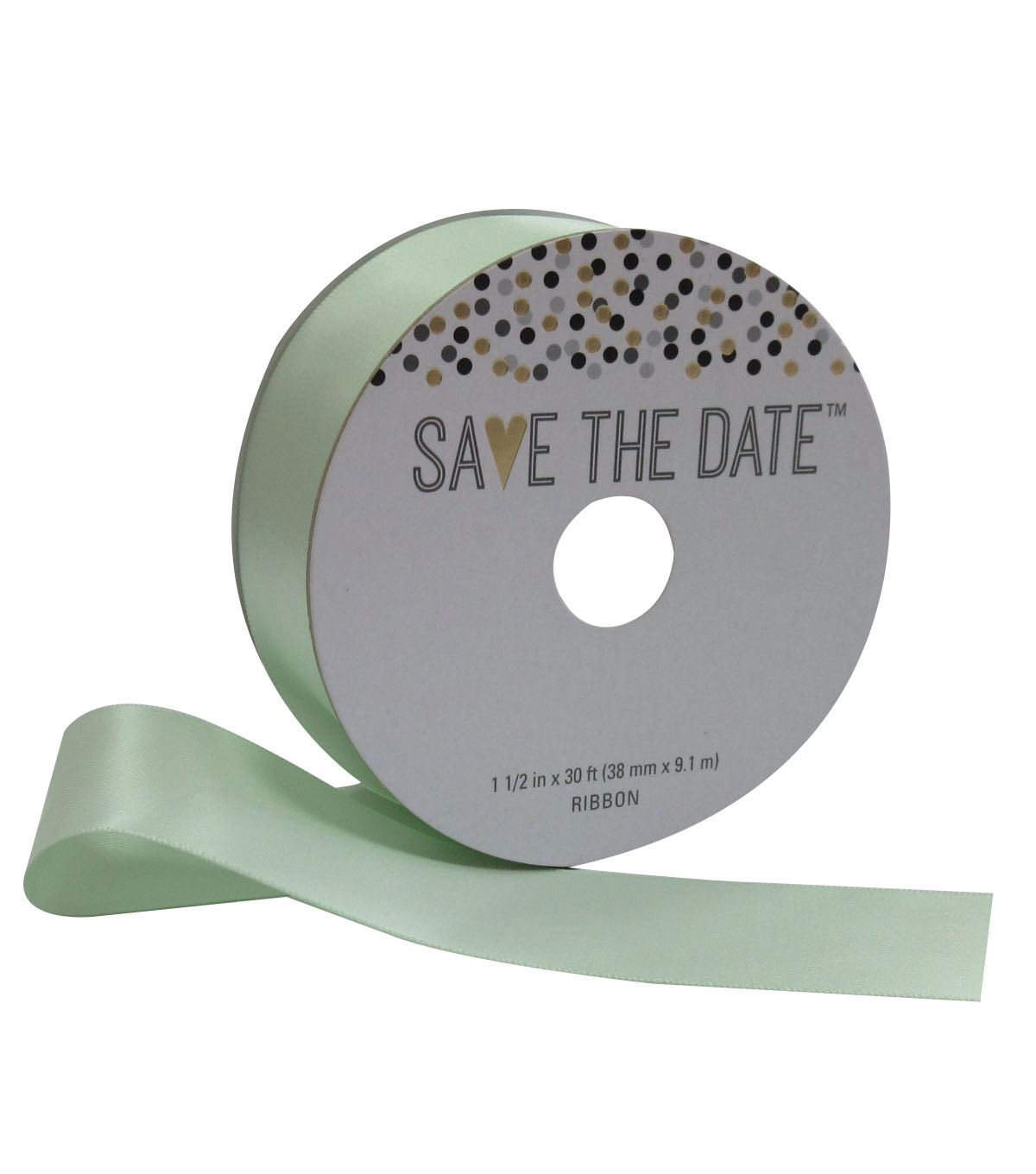 Save the Date 1.5\u0027\u0027 X 30\u0027 Ribbon-Green Satin