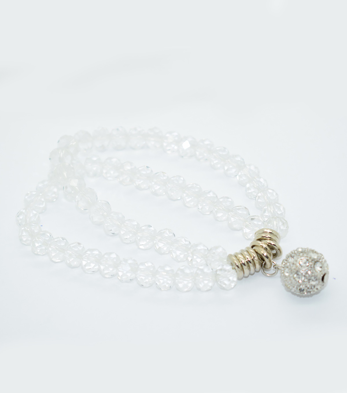 Crystal Two Line Drop Bracelet-Clear