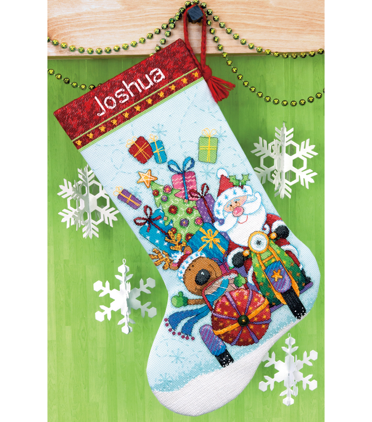 Santa\u0027s Sidecar Stocking Counted Cross Stitch Kit-13\u0022X20\u0022 14 Count