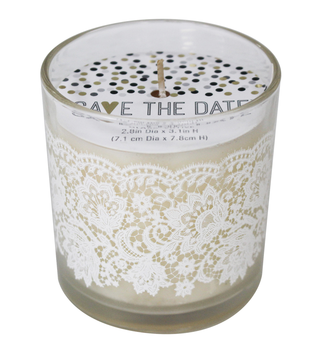 Save The Date™ Unscented Votive Candle with Lace-White