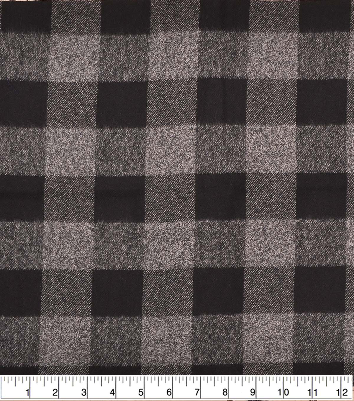 Plaiditudes Brushed Cotton Fabric 44\u0022-Check Black Gray