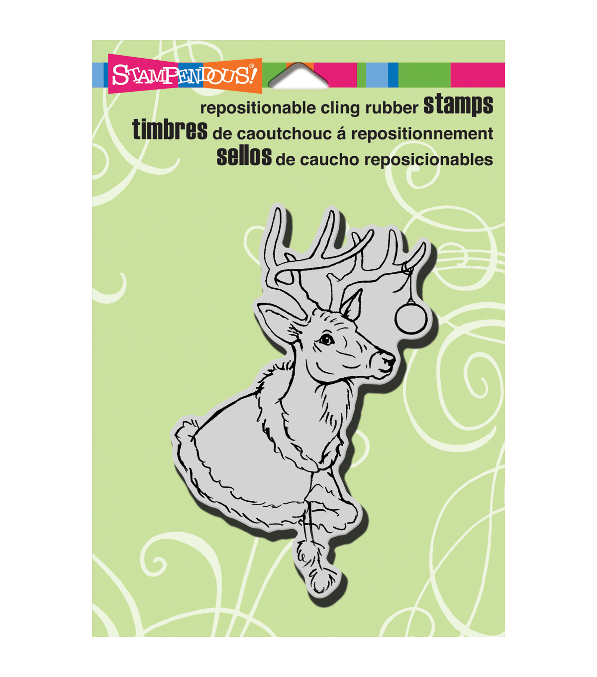 "Stampendous Christmas Cling Rubber Stamp 5.5""X4.5"" Sheet-Deer Stole"