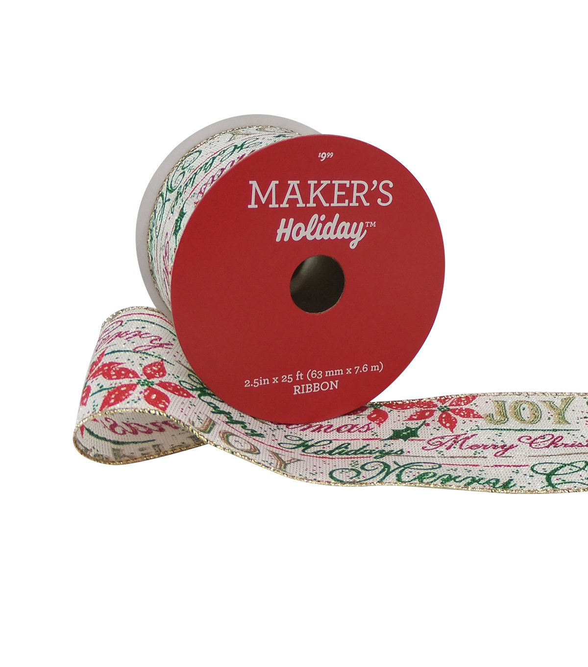 Maker's Holiday Christmas Ribbon 2.5''x25'-Sentiments on Beige