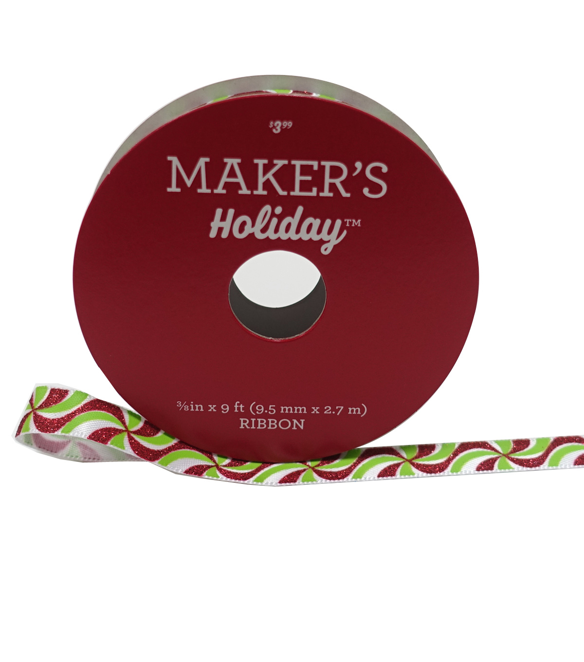 Maker's Holiday Christmas Ribbon 3/8''X9'-Peppermint Swirl