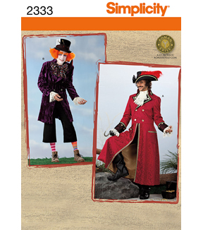 Simplicity Pattern 2333-Men's Mad Hatter and Captain Costumes