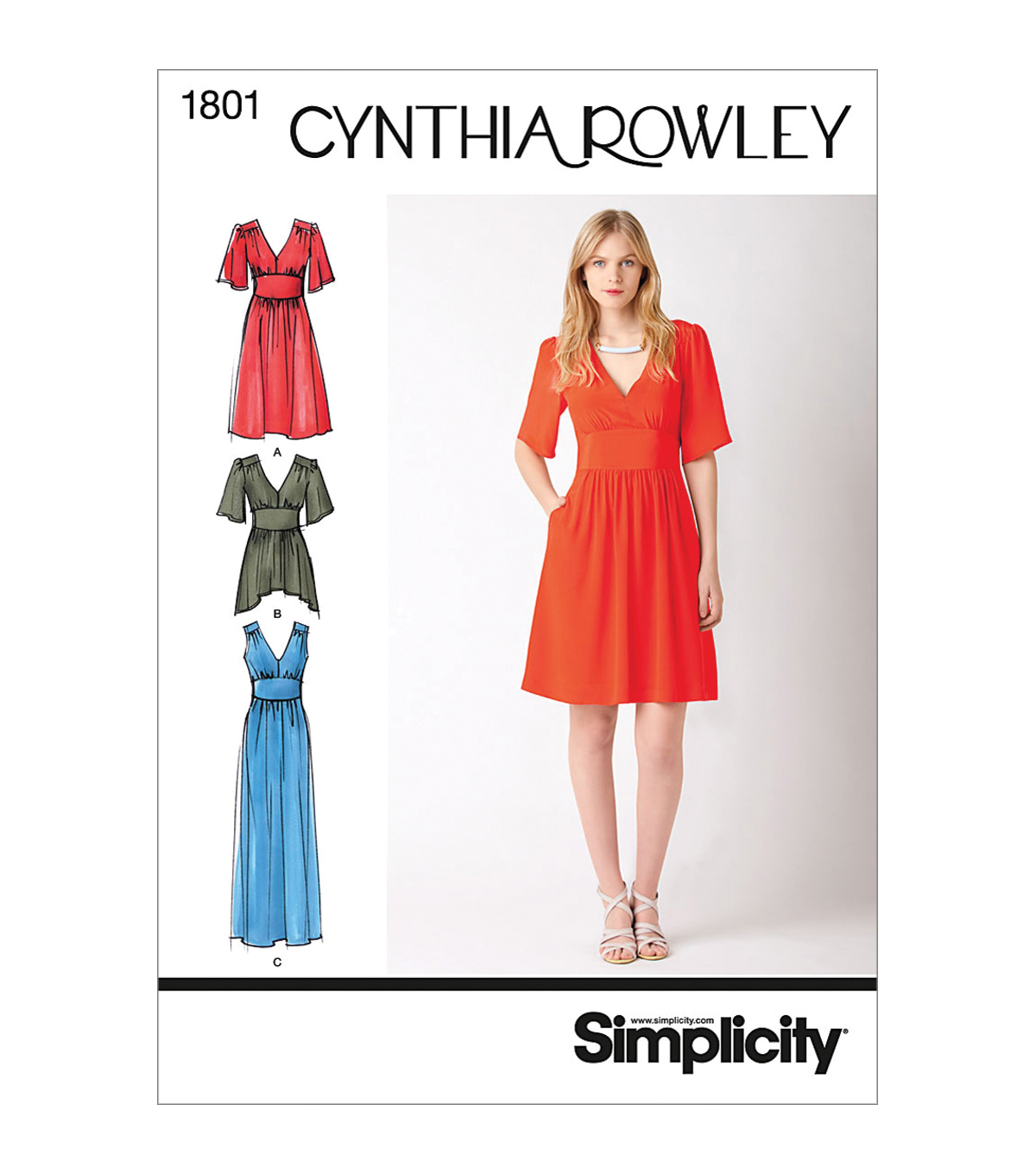 Simplicity Patterns Us1801R5-Simplicity Misses Dresses-14-16-18-20-22