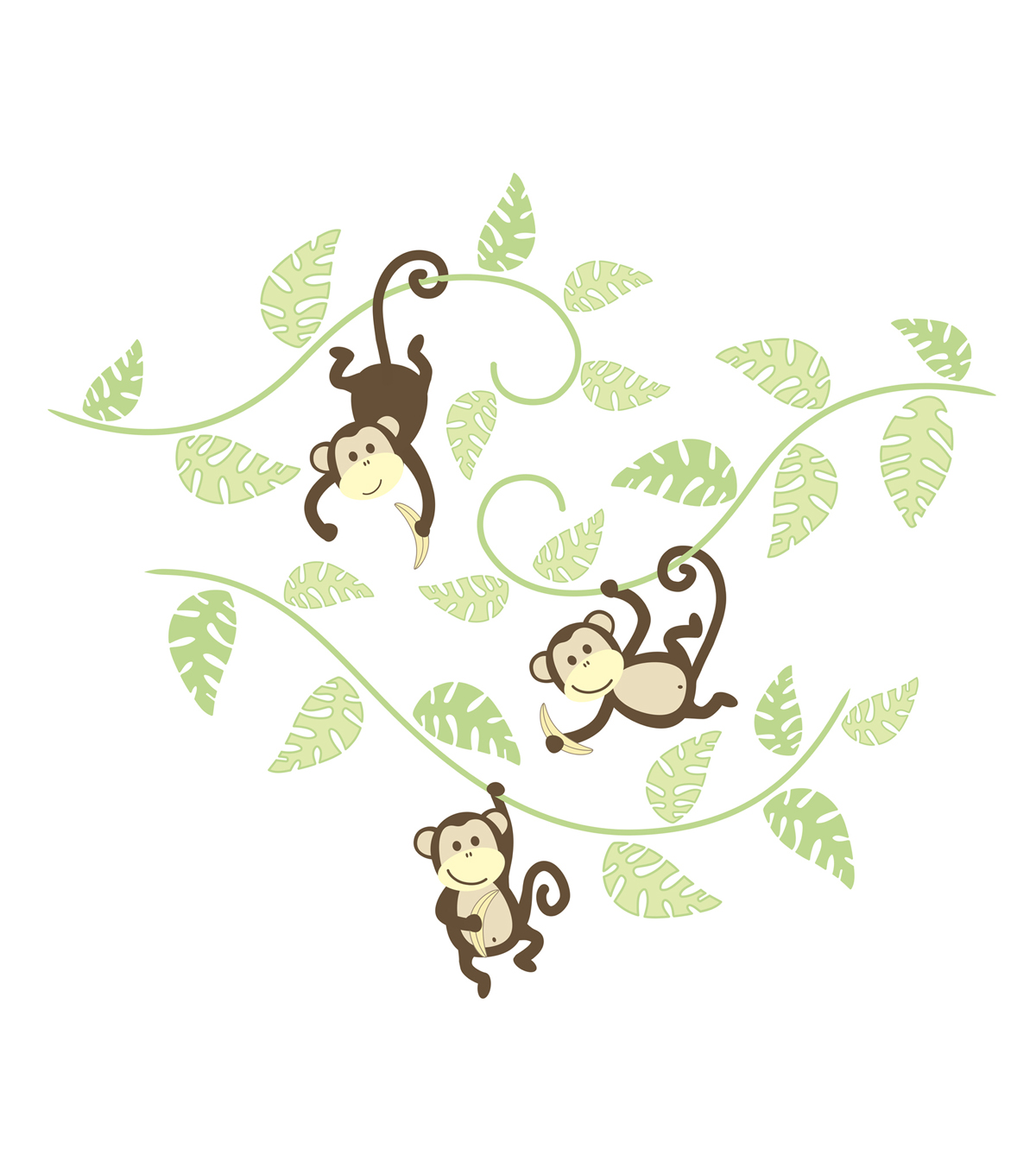 Wall Pops Monkeying Around Wall Art Decal Kit, 36 Piece Set