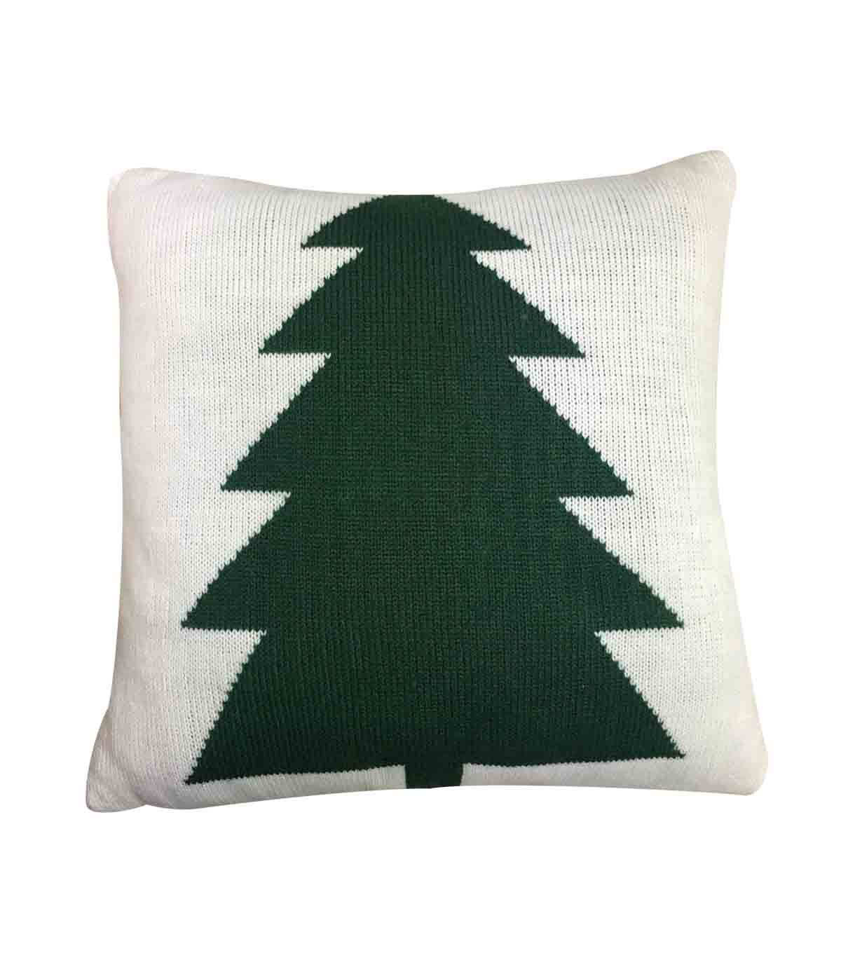 Maker\u0027s Holiday Christmas Knit Pillow-Tree