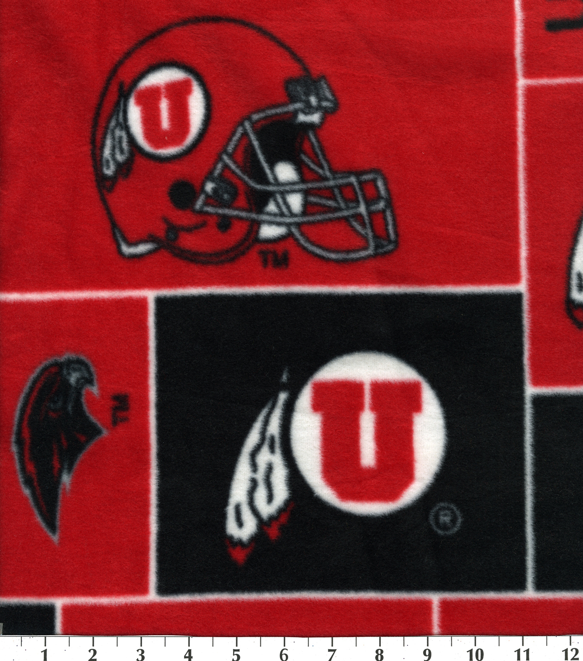 University of Utah Utes Fleece Fabric 58\u0022-Block