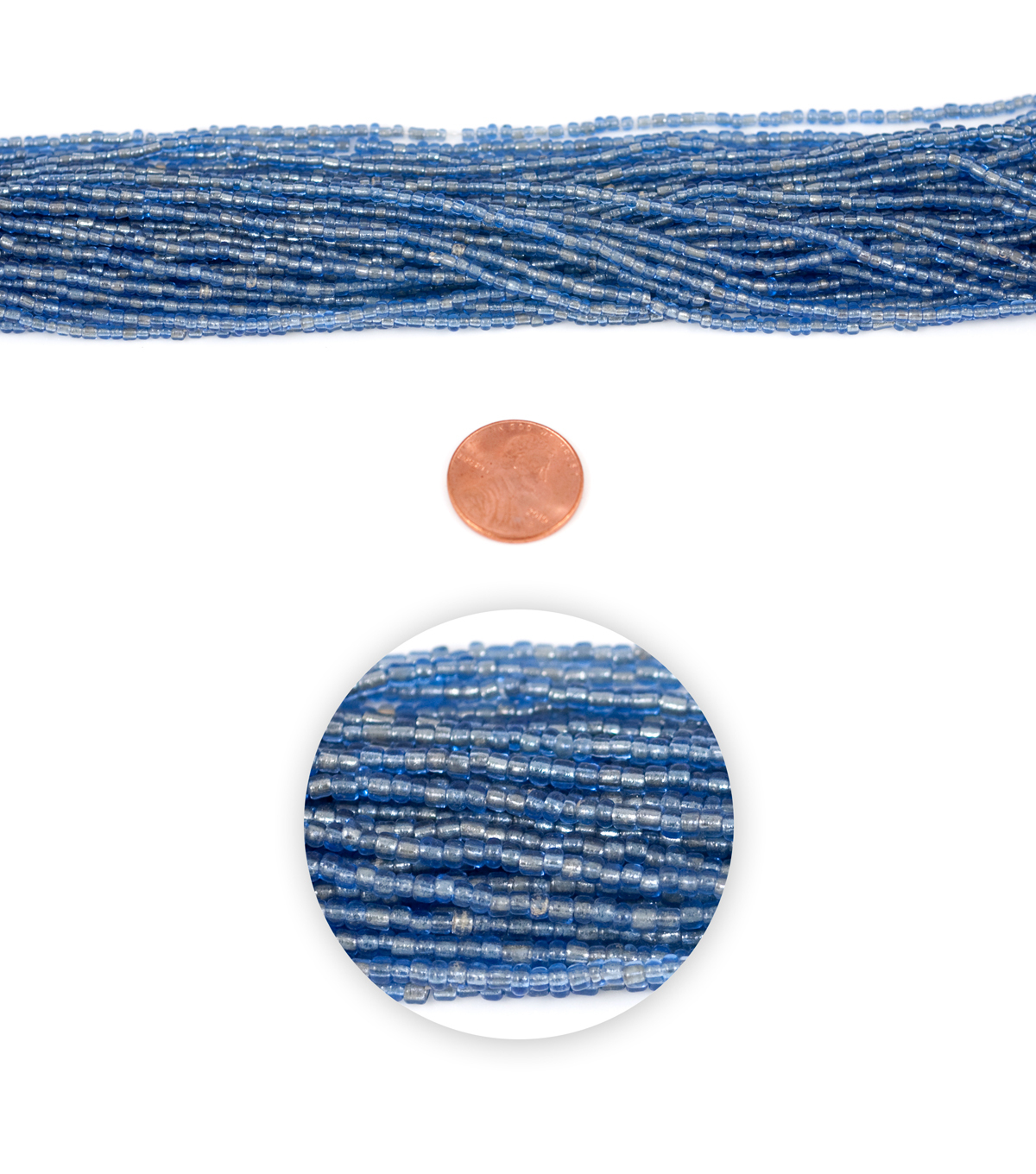 Blue Moon Strung Glass Seed Bead Hank,Dusty Blue