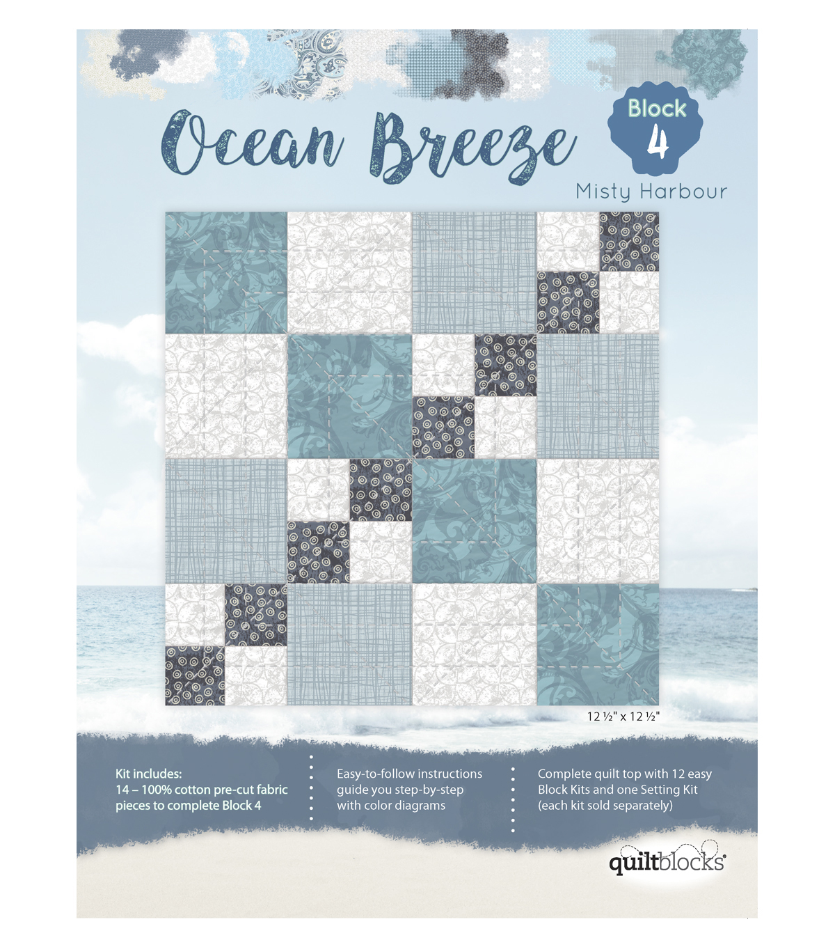 Quilt Block Ocean Breeze 14-Pieces Block 4 Kit-Misty Harbour