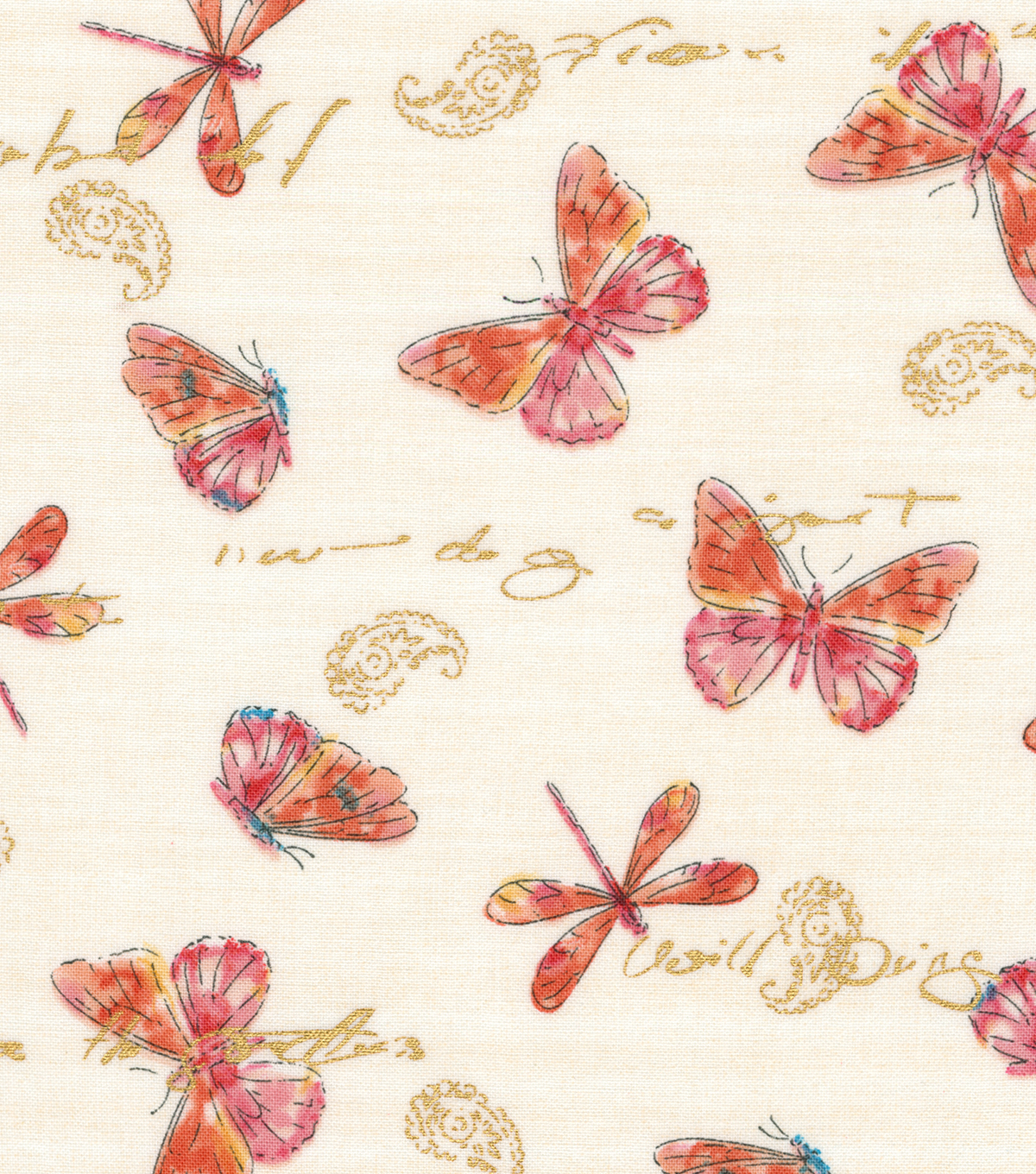 "Premium Quilt Cotton Fabric 44""-Dragonflies & Butterflies"