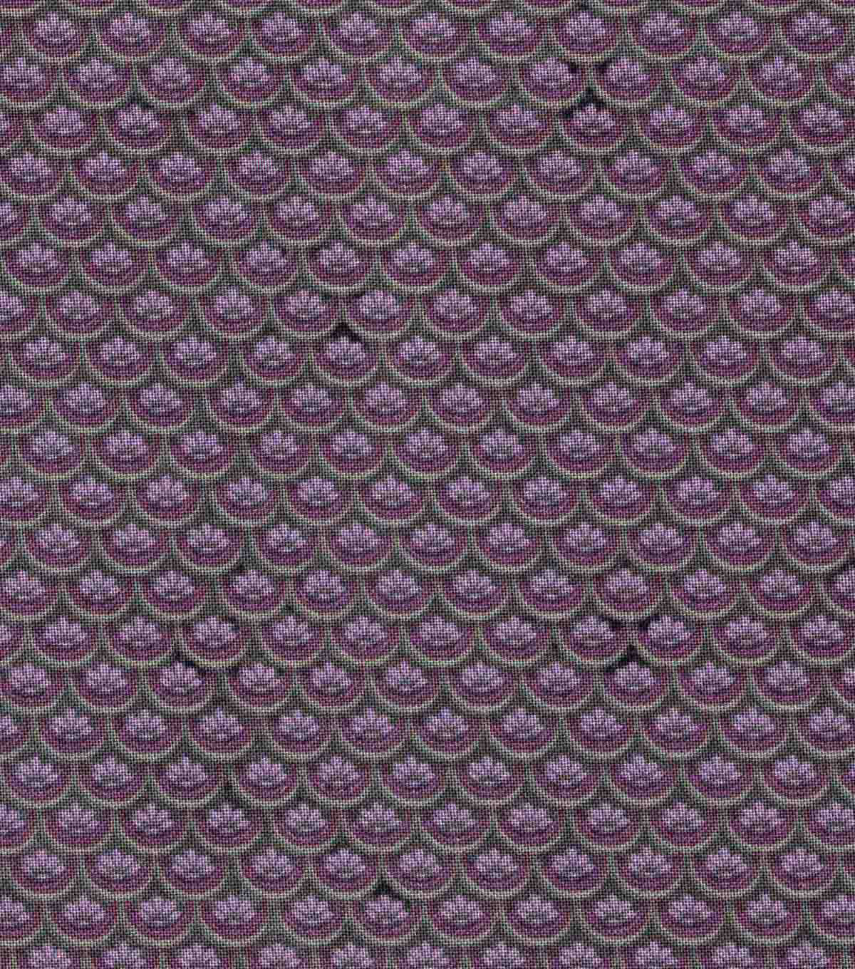 "Vintage Cotton Fabric 43""-Floral Scallops Dark Purple"