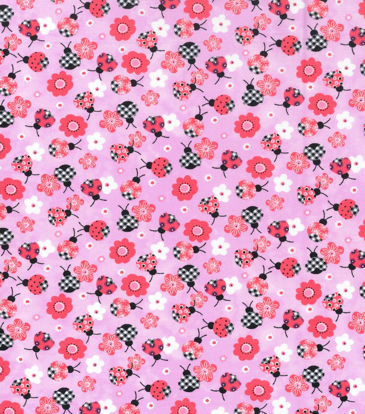 Novelty Cotton Fabric 43\u0022-Ladybugs On Pink