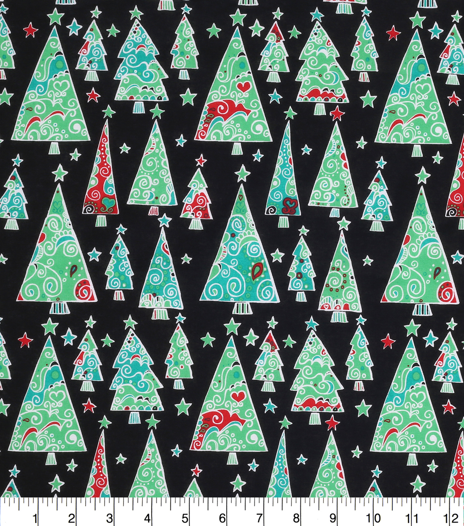 "Keepsake Calico™ Holiday Cotton Fabric 43""-Scrolly Trees And Stars"