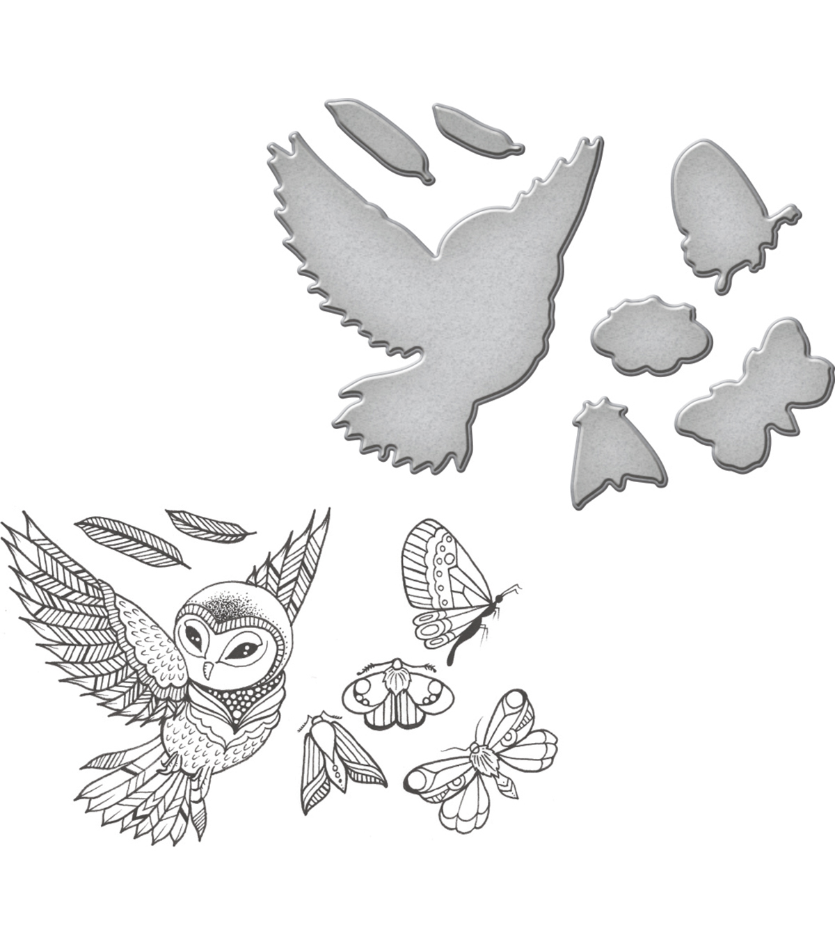 Spellbinders® Earth Air Water Stamp & Die Set-Owl