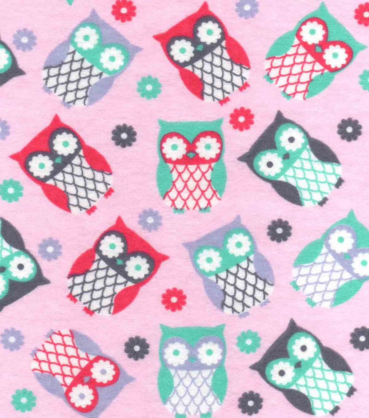 Snuggle Flannel Fabric 42\u0022-Tossed Owls On Pink