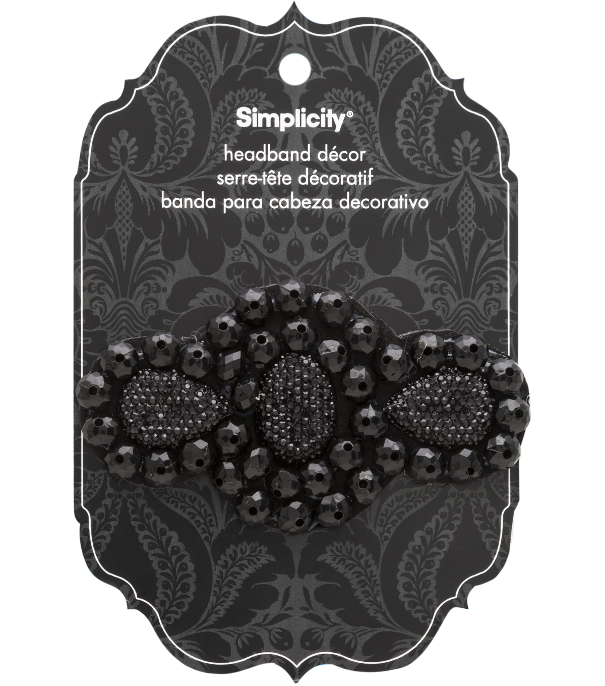 Hair Acc Beaded Sparkle Gem Slider Black