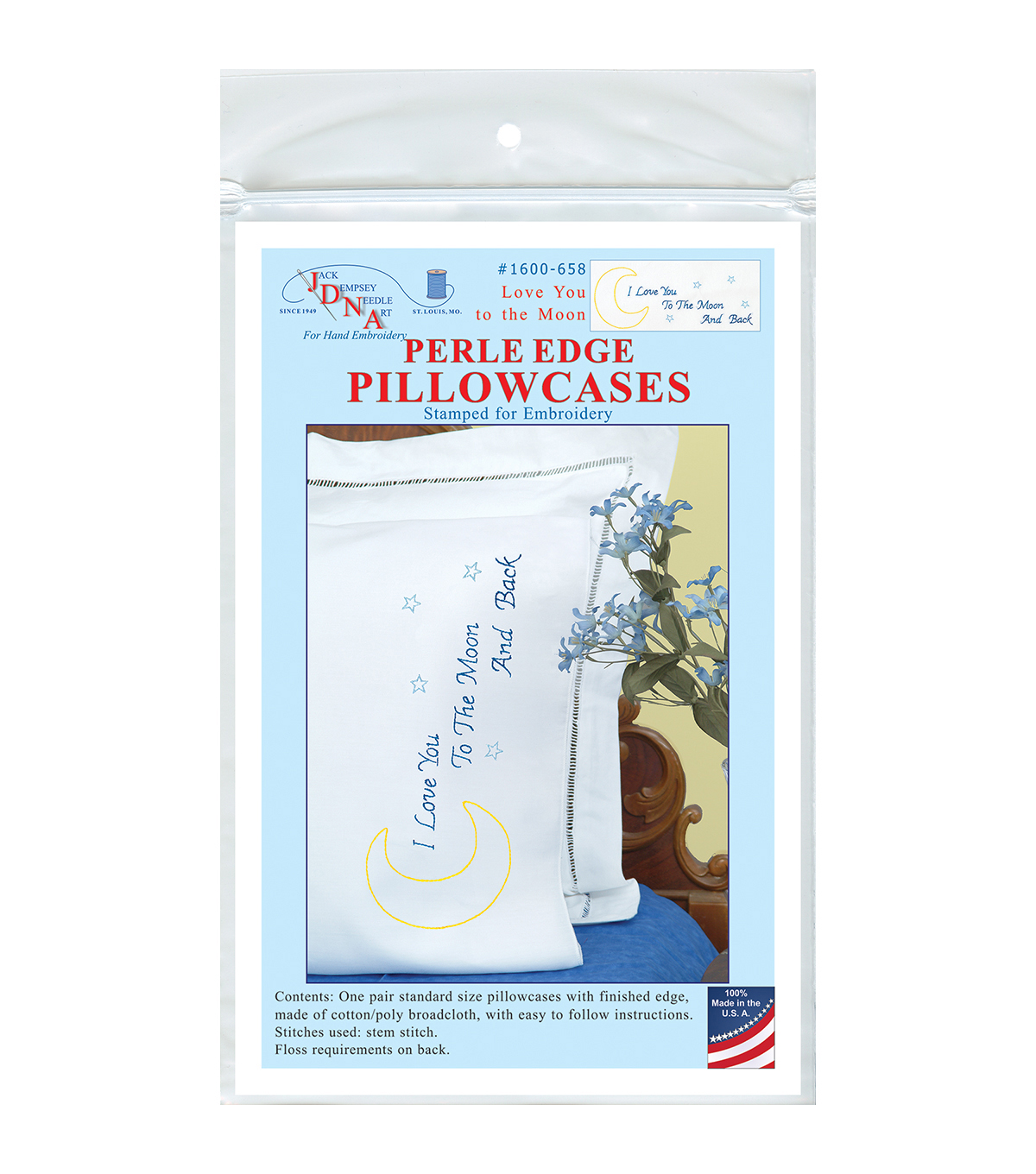 Jack Dempsey Stamped Pillowcases With Perle Edge-Love You To The Moon