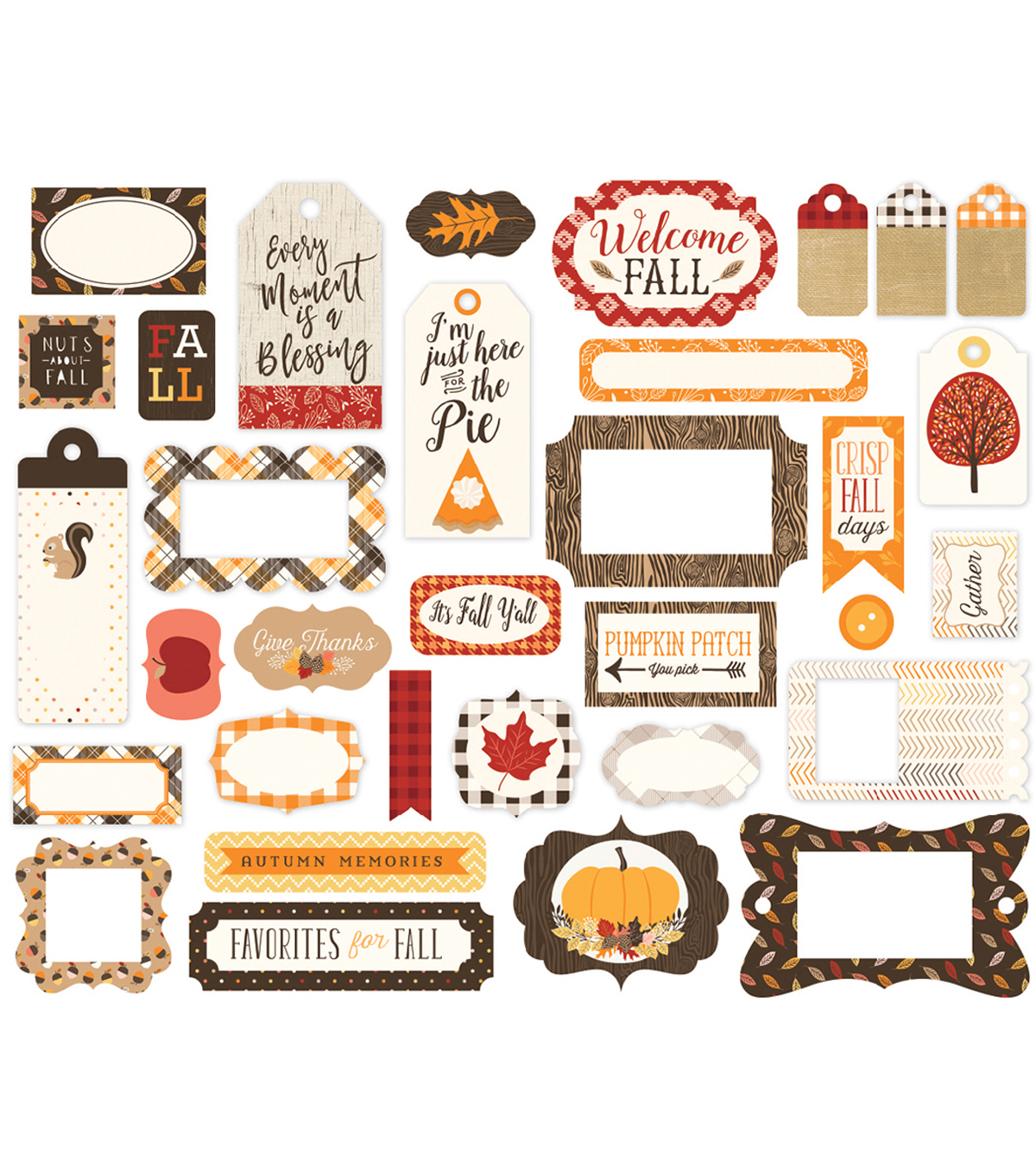 Hello Fall Ephemera Cardstock Die-Cuts-Frames & Tags