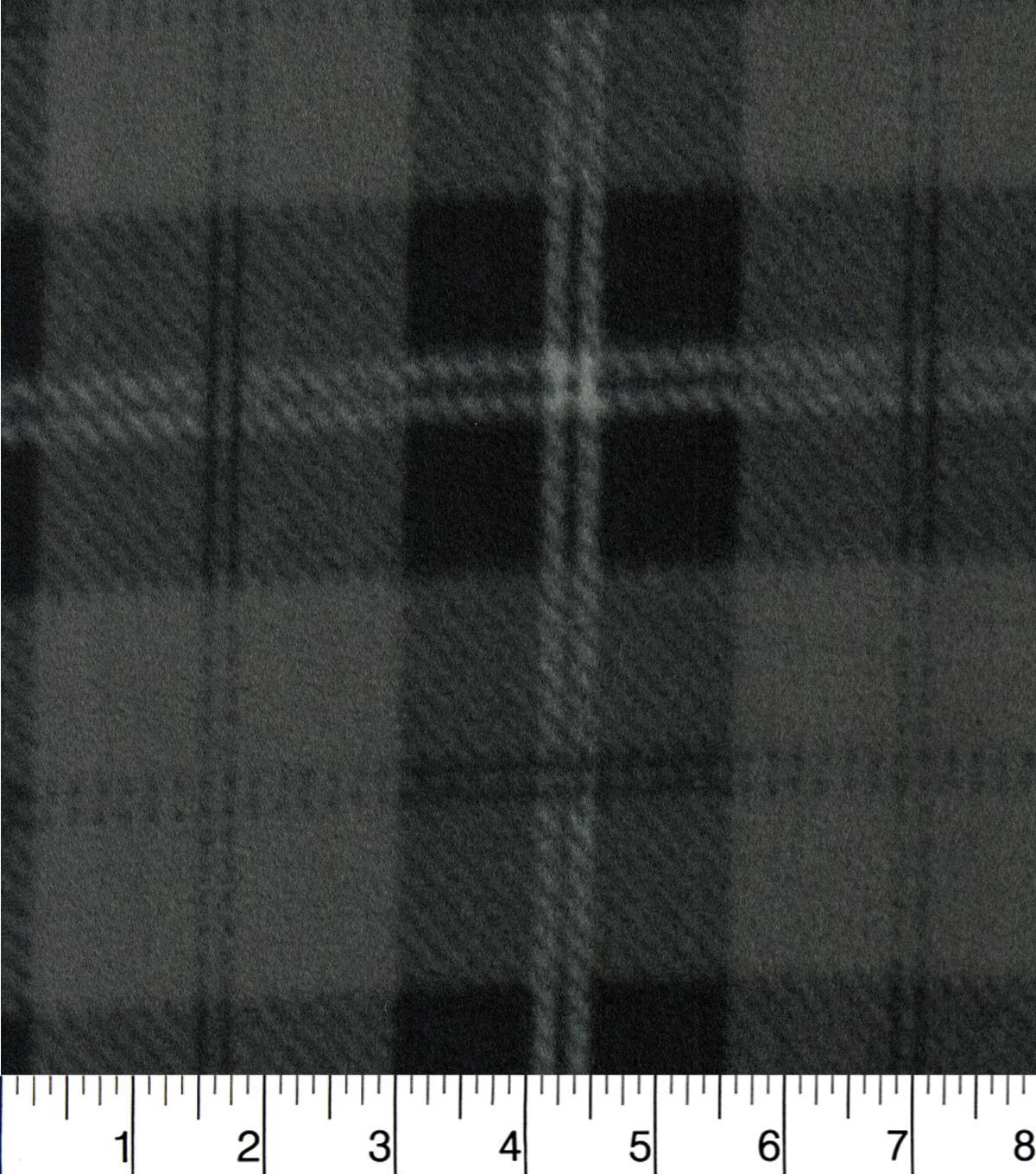 Blizzard Fleece Fabric 58\u0022-Charcoal And Black Plaid